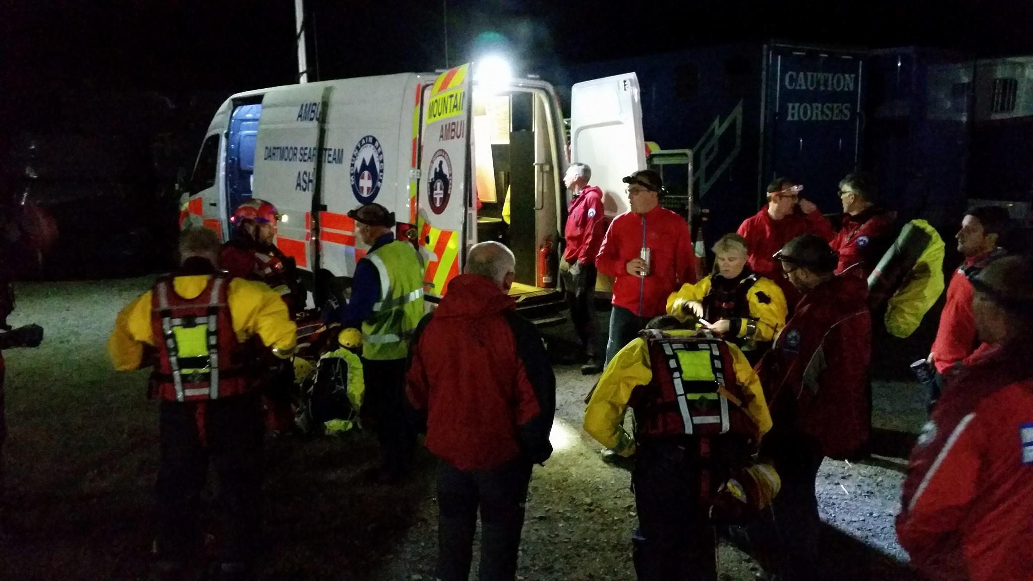 Dartmoor Search and Rescue Ashburton on site at a callout near Exeter in Devon