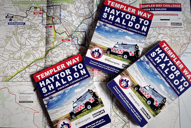 Dartmoor Search and Rescue Ashburton's Templer Way Challenge map sponsored by Moorgate Vets