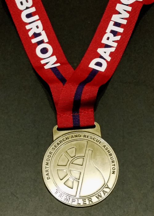 The smart new Templer Way finishers medal. Awarded for completing Dartmoor Search and Rescue's 18 mile  Templer Way Challenge.