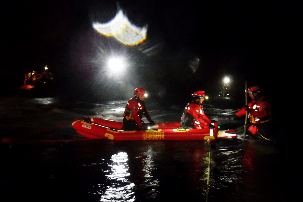 Dartmoor Rescue Ashburton water rescue specialists training on the River Dart with their rescue sled