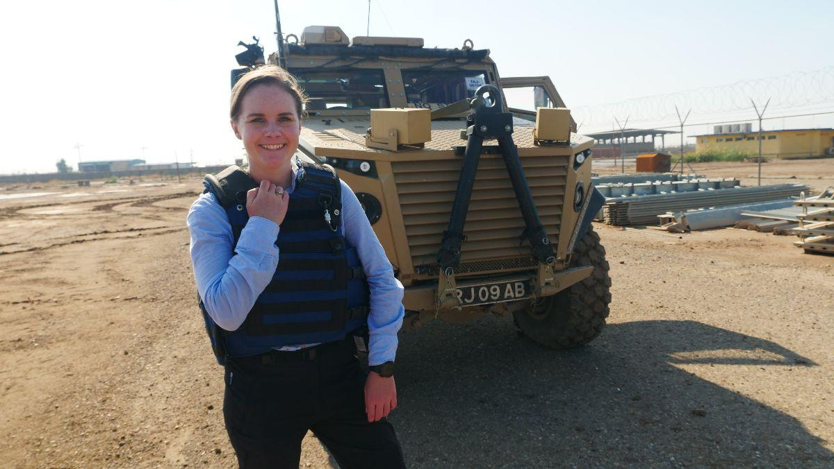 Team mate Becky on manoeuvres with the army as part of her day job with British Forces Broadcasting Service