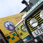 Our control vehicle and landrover ambulance side by side. Photo shows front of landrover and side of control vehicle
