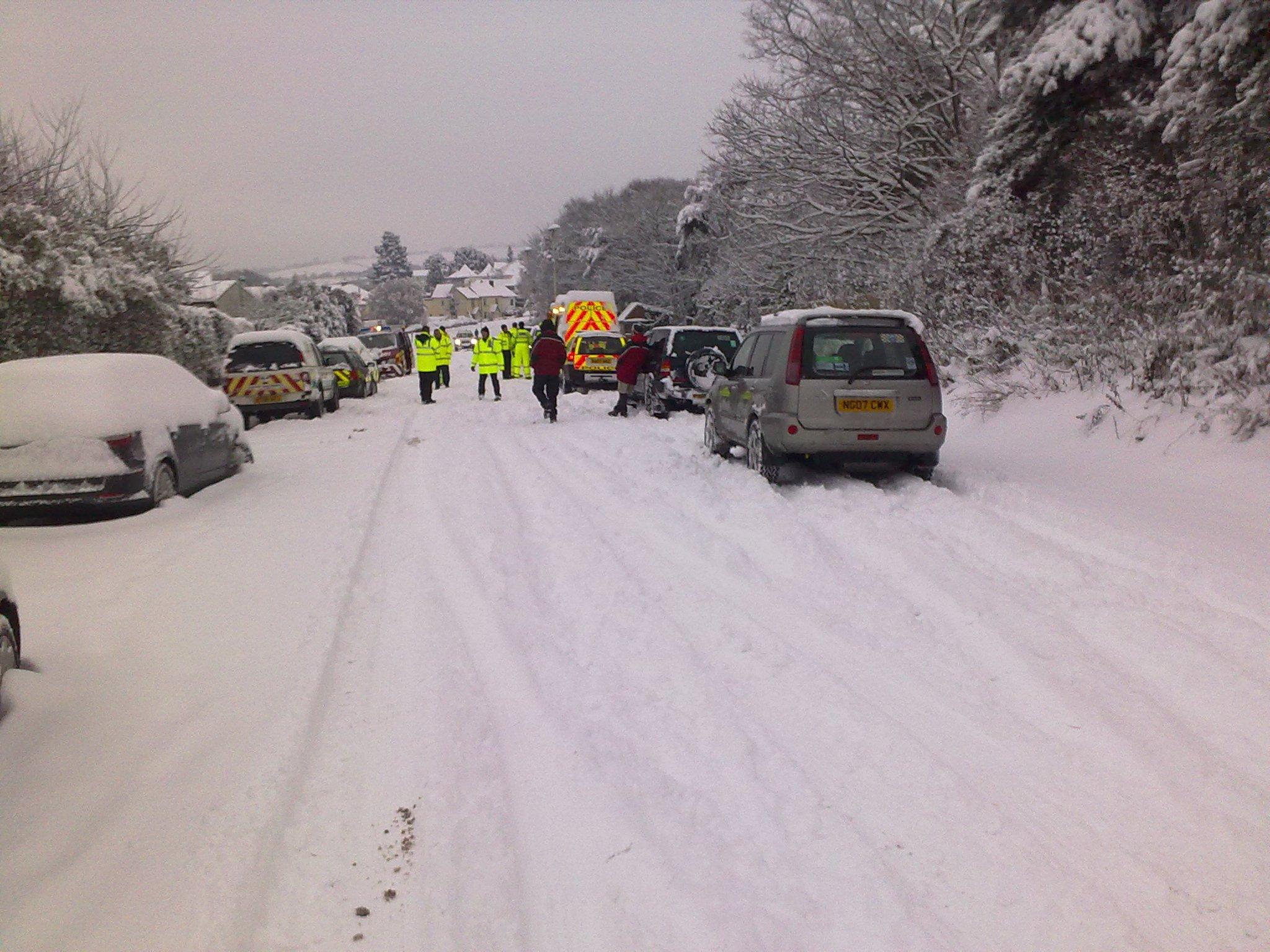 stranded motorists due to the snow on Haldon Hill in 2010