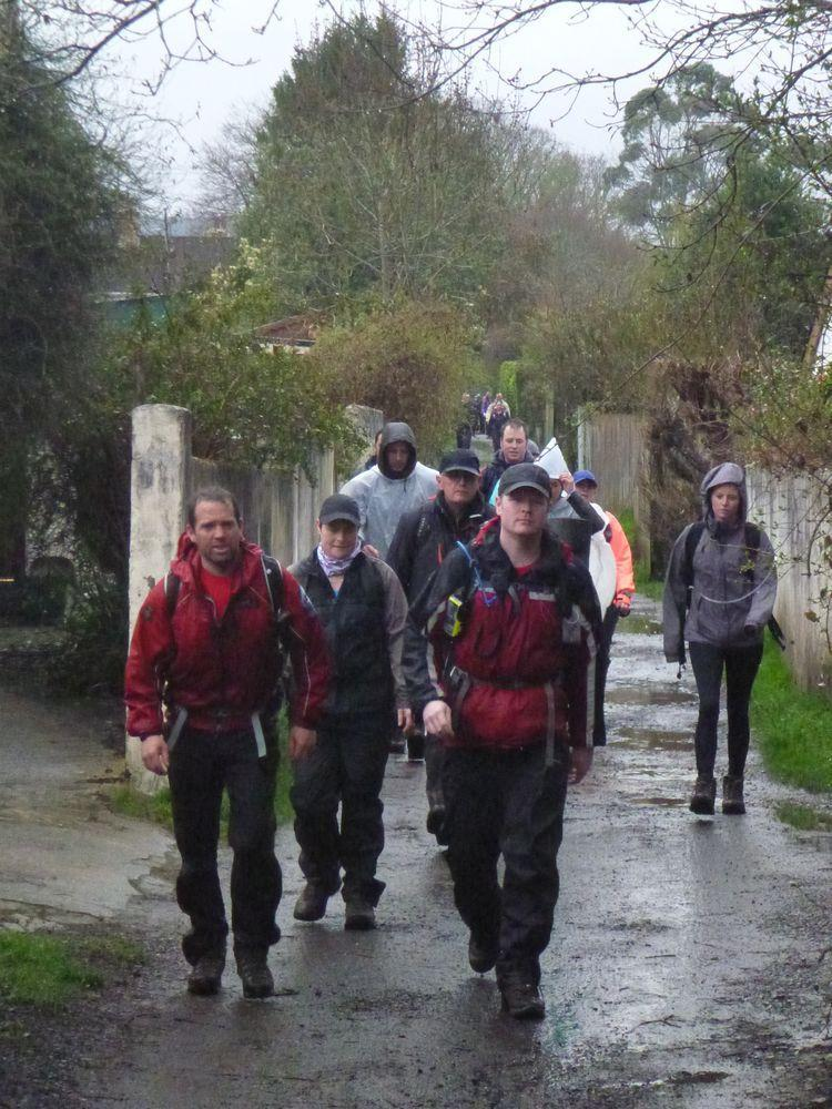 Sponsored walkers on the Templer Way in Bovey Tracey