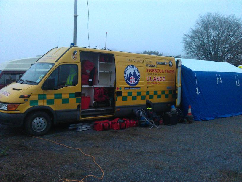 Dartmoor Search and Rescue Ashburton, Affiliated to Mountain Rescue England and Wales, and Dartmoor Rescue Group, on site at a search looking for a missing Ashburton male