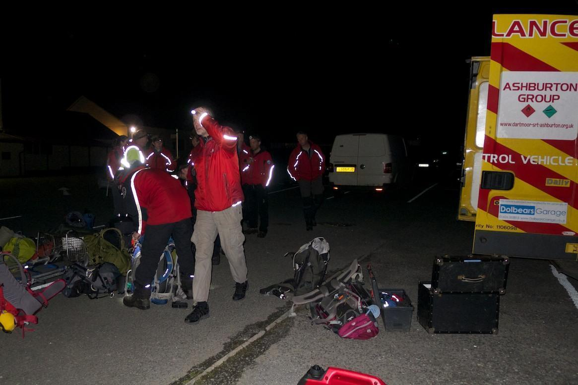 Dartmoor Rescue team members preparing to leave on a search at Teignmouth Golf Course Devon