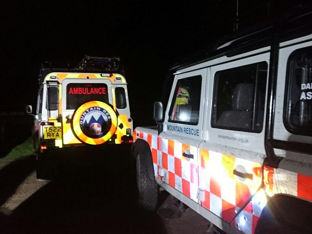 Dartmoor Search and Rescue Ashburton Landrover ambulances on site at an Exeter missing person callout
