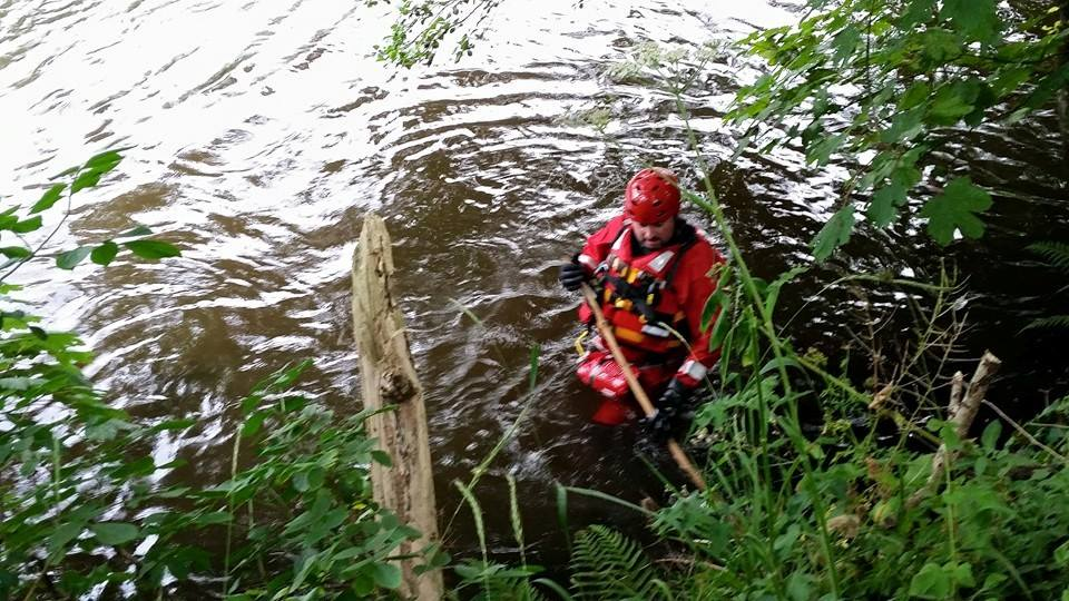 Dartmoor Search and Rescue Ashburton volunteers on site whilst assisting Police with a search on the River Teign near Chudleigh Knighton