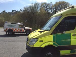 Dartmoor Search and Rescue Team Ashburton Landrover Ambulance alongside South West Ambulance Trust Ambulance