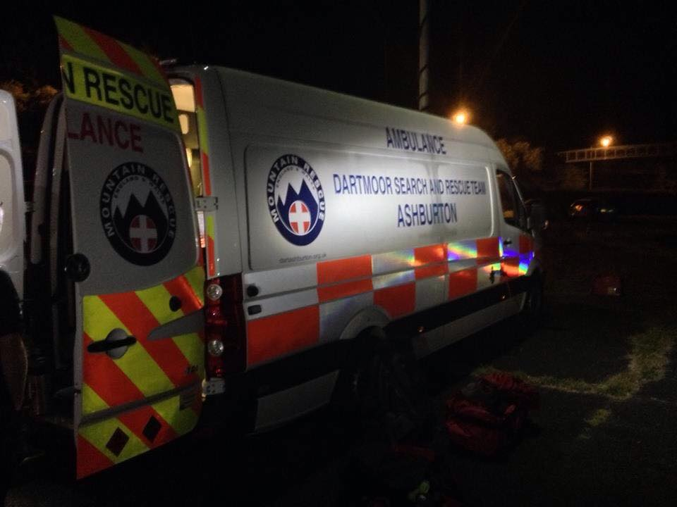 Dartmoor Search and Rescue Ashburton Control Vehicle on site looking for a missing lad at Totnes