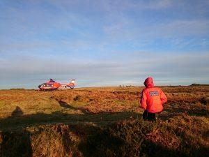 Devon Air AMbulance lands at Bonehill Rocks, Dartmoor