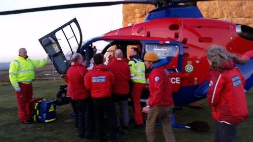 Dartmoor Rescue assist Air Ambulance with fallen climber