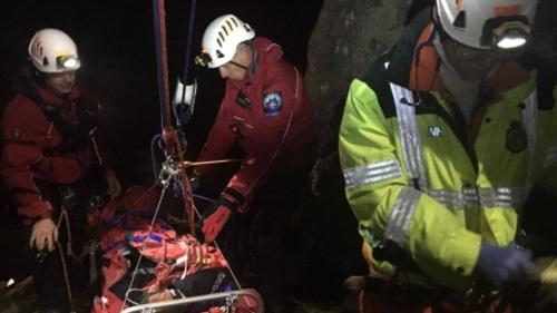 Rope rescue training at Haytor Rock
