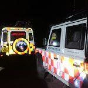 Dartmoor Rescue Landrovers on site at a Chumleigh missing person search
