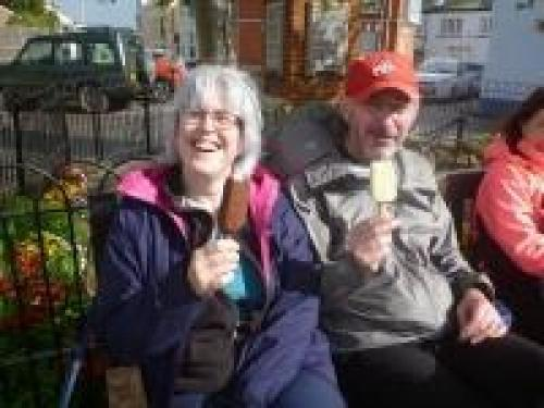Walkers enjoy a well earned ice cream at the finish in Shaldon
